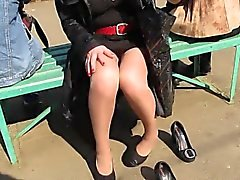 Chick Teasing Her Privates In Public