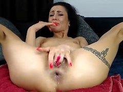 Unshaved mature loved double penetration with toys