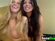 Busty blond and brunette lesbian porn