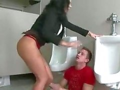 Bitchy teacher cares about student's dick in a bathroom