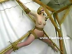 Man eats his dinner near slut naked and tied like a hog before fucking her and torturing her