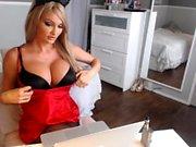 Blonde shows her big round boobs on cam