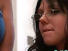 Bad British girls in glasses tease CFNM amateur