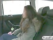 Amateur fucked and tastes creamy cumload with taxi driver