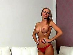 Big tits slim blonde amateur fucked on casting