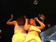 Kinky sluts strip down in the club