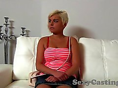 Casting Petite blonde gets spunk shower in interview