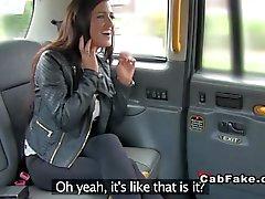 Huge tits British amateur in cab
