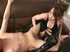 Delightful Japanese mistress in black shows off her marvelo