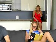 Blondes Cory Chase and Avalon Heart Staring Up Threesome