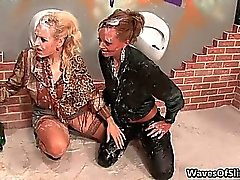 Nasty blonde sluts go crazy sucking part2