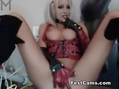 Harley quinn with a big dildo