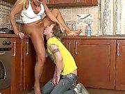 Femdom Landlady controls guy