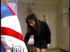 Slim Asian girl with tiny tits gets tied up and pleased wit