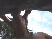 Brunette teen blowjob outdoor