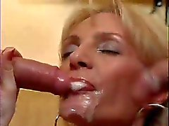 Skinny Old Milf Takes Two Youg Cocks !