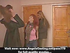 Threesome having a lesbian orgy