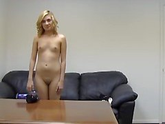 Nice blonde gets a cock in backroom casting video.