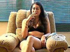 Madison smokes during erotic interview