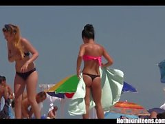 Big tits bikini Girls spycam beach voyeur HD Video