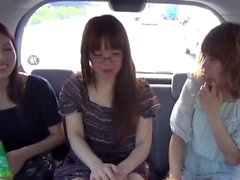 Naughty teens pee in cab
