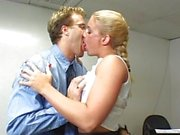 Horny female boss seducing employee