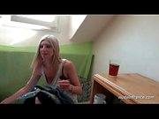 Pretty amateur blonde ass pounded and jizzed on tits in POV
