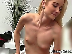 Small tits amateur fucked on couch in office by fake agent