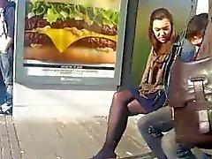 Candid pantyhose stop bus