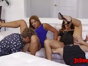 Latina MILF Mercedes Carrera riding cock vigorously in orgy