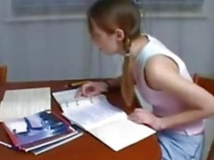 Step Brother Helping Teen Sister with Homework
