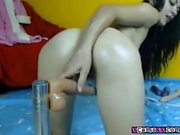 Erin gorgeous brunette babe toying pussy using a glass dildo