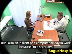 Euro babe doggystyled by doctor on spycam