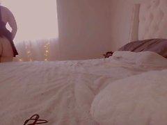Brunette chubby amateur teen plays on webcam