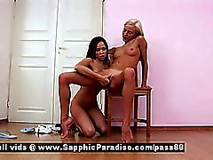 Irene and Nichol superb blonde and redhead lesbians sucking nipples