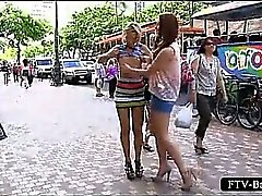 Nasty teen lesbos making out on the streets