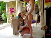 Ass to mouth fuck on the table and eating anal creampie. Mia Bandini