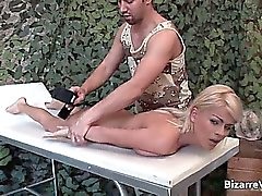 Sexy blond chick with big tits gets her