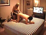 Blonde girl strapon the butt of her person