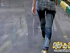 Public jeans wetting and ass close-ups