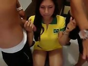 Brunette Blowjob Threesome