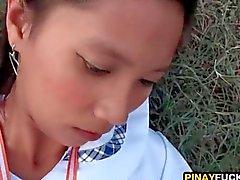 Cute Asian Teen Swallows Cum Outside