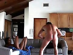 Cheating Brunette Housewife Banged From Behind On Sofa