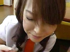 Naughty Japanese babes put their lovely lips to work on a l