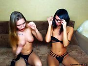 Large toys fuck pussy in lesbian solo