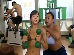 Asian hottie works out in her leopard bikini and gets grope