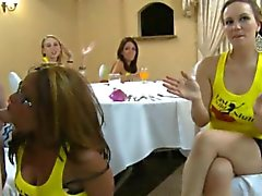 Lucky babe gets to engulf stripper's schlong during party