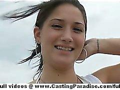 Sasha adorable teen girlfriend with big ass and natural tits having fun on the beach