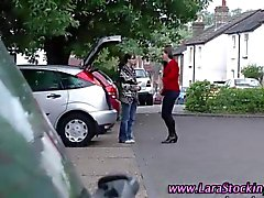 Stockinged mature amateur spanks a lesbo babe