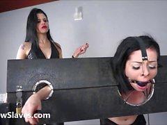 Merciless brazilian bdsm and lesbian whipping of 19yo amateur slave girl Demi
